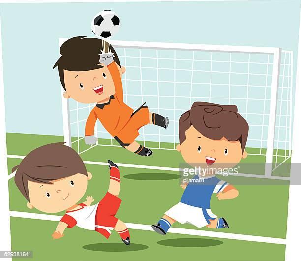 ilustrações, clipart, desenhos animados e ícones de soccer kids - football