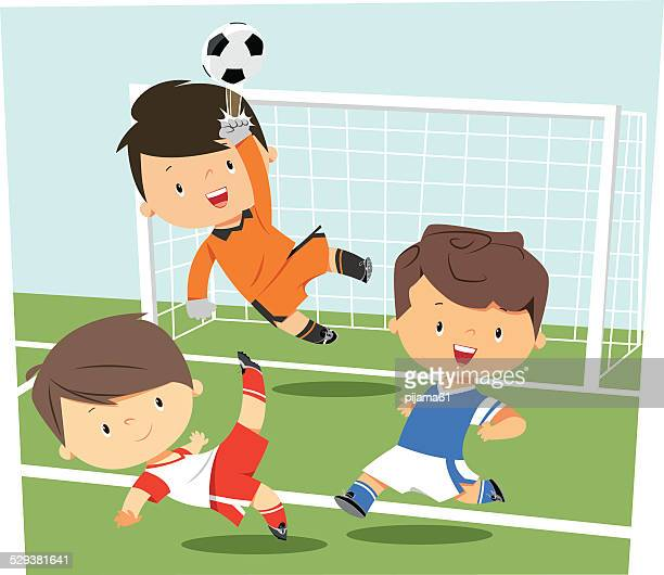 fußball spielende kinder - teenager alter stock-grafiken, -clipart, -cartoons und -symbole