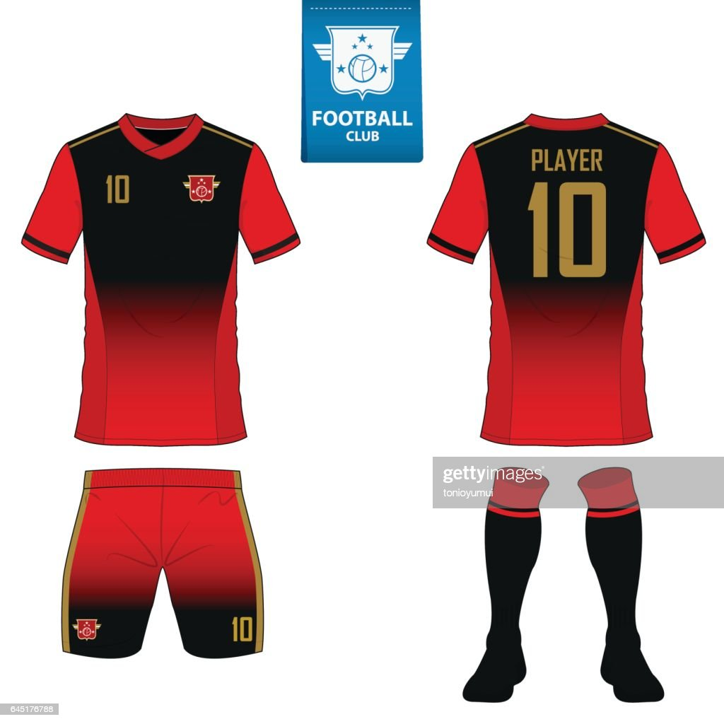 soccer kit or football jersey template for football club. Flat football logo on blue label