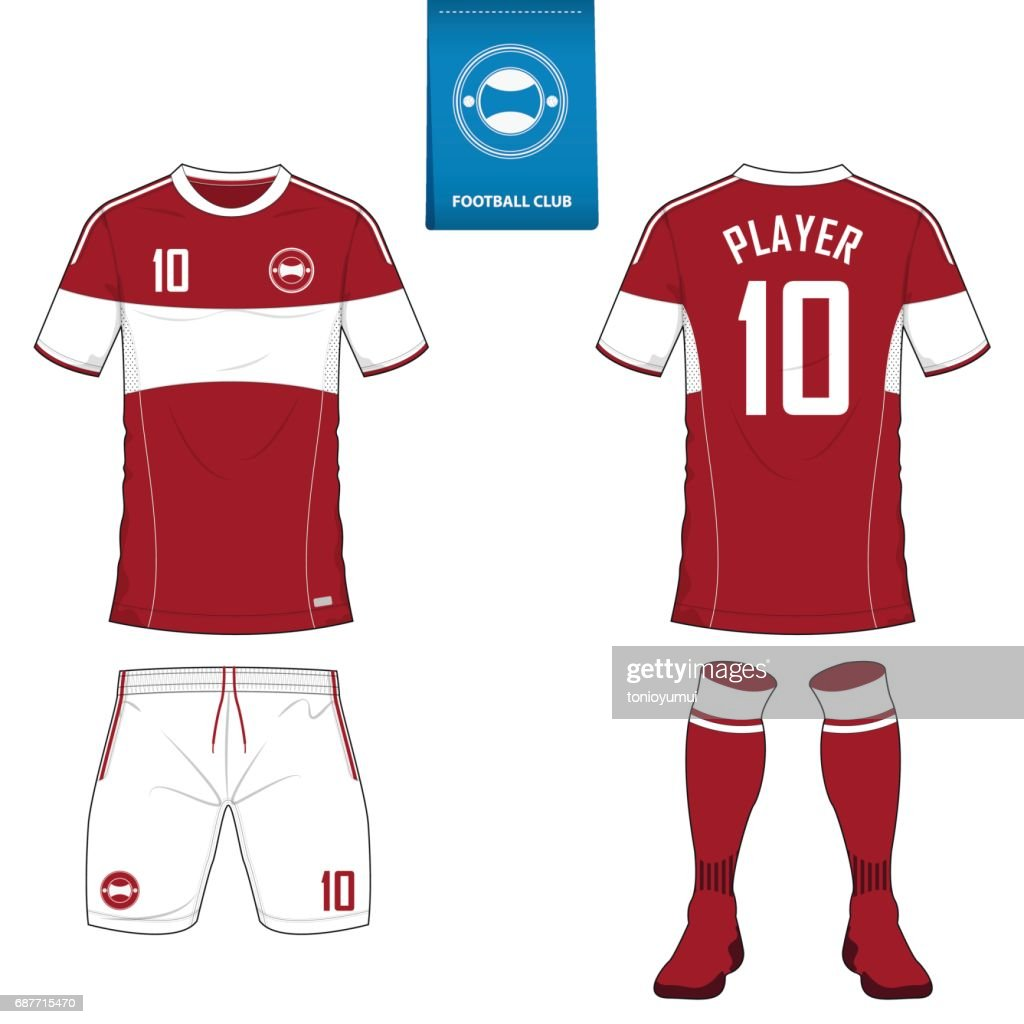 Soccer kit or football jersey template for football club. Short sleeve football shirt mock up. Front and back view soccer uniform. Flat football logo design.