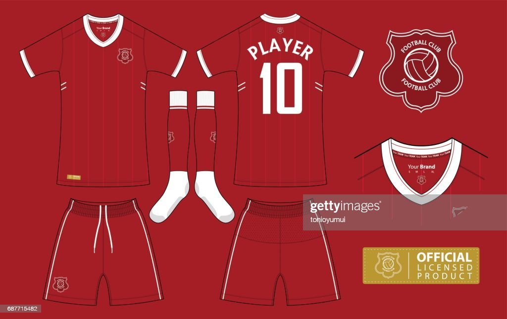 Soccer kit or football jersey template for football club. Short sleeve football shirt mock up. Front and back view soccer uniform and flat football logo design.