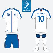 Soccer kit or football jersey template. Front, back view. Vector