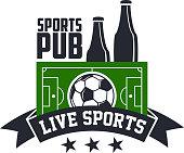 Soccer live sports or football bar pub vector icon