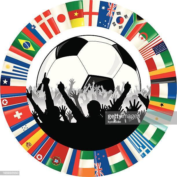Fußball-Fan mit Ball, jubeln und Kreis-Flaggen