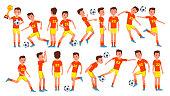 Soccer Man Player Male Vector. Field. Training. Goalkeeper. Cartoon Athlete Character Illustration
