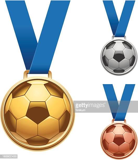 soccer medals - medal stock illustrations