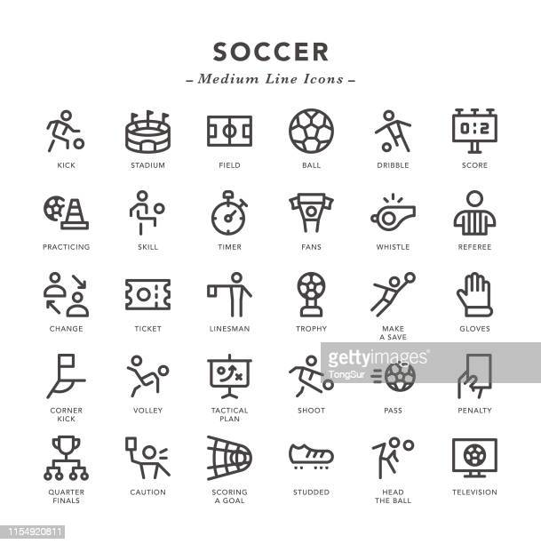 soccer - medium line icons - conversion sport stock illustrations