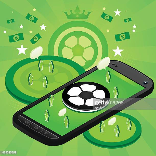 soccer mobile phone - match sport stock illustrations, clip art, cartoons, & icons