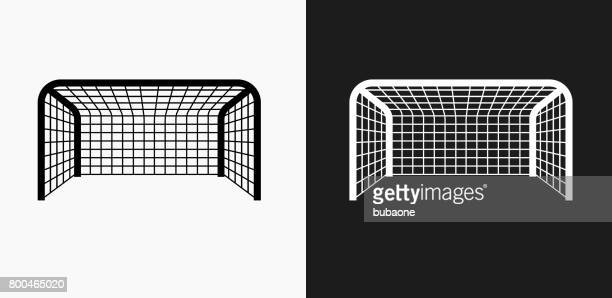 soccer net icon on black and white vector backgrounds - sport set competition round stock illustrations