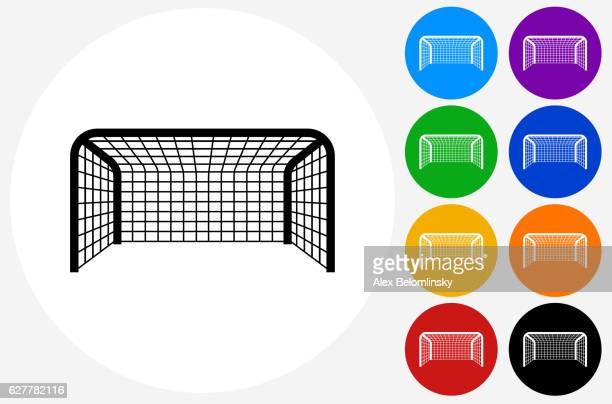 Soccer Net Icon on Flat Color Circle Buttons