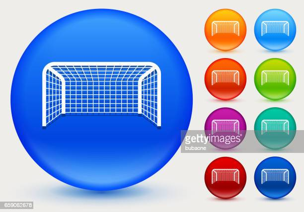 Soccer Net Icon on Shiny Color Circle Buttons