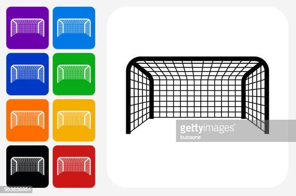 Soccer Net Icon Square Button Set
