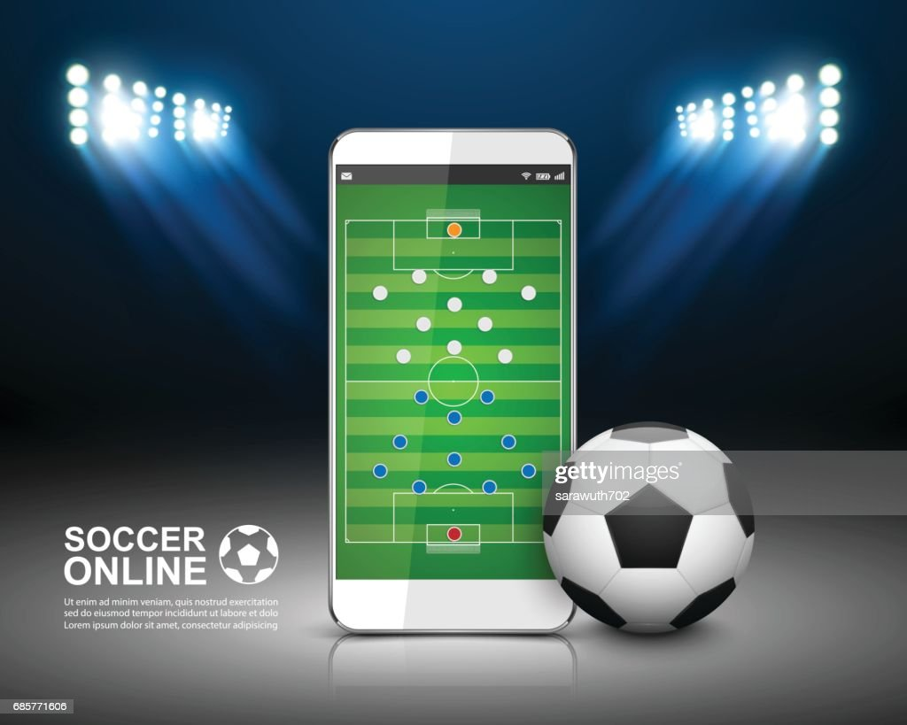 Soccer Online Concept, Football field on the smartphone.