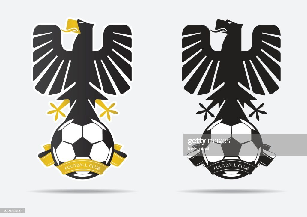 Soccer or Football Badge icon Design for football team Identity. Minimal design of black eagle stand up on football and golden ribbon . Football club icon in black and white icon. Vector