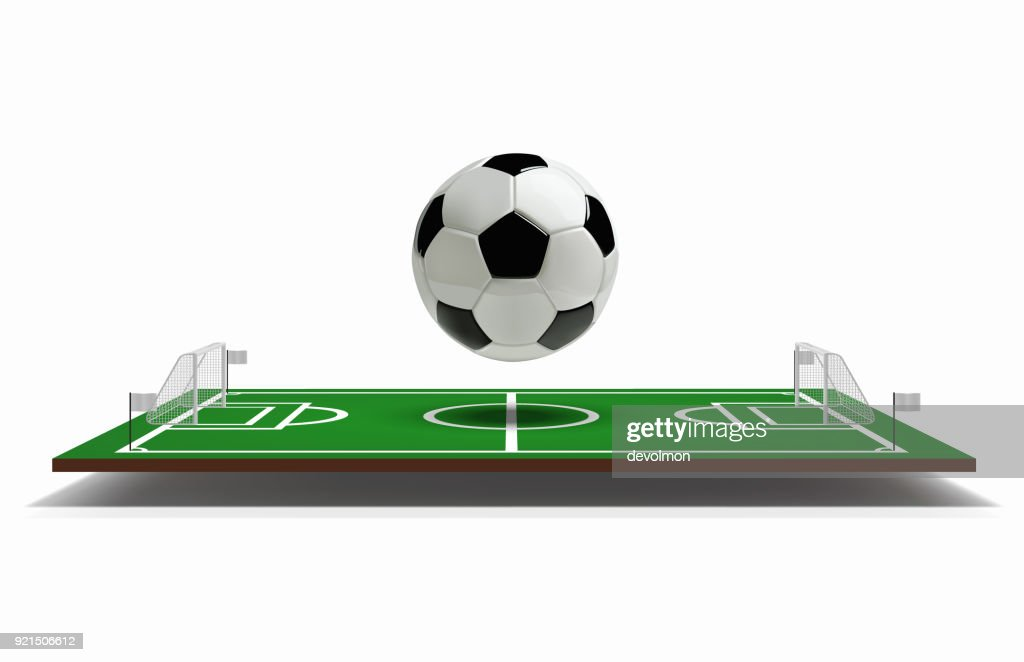 Soccer or Football Field vector 3D with football ball. Green soccer field. Game Vector Stadium