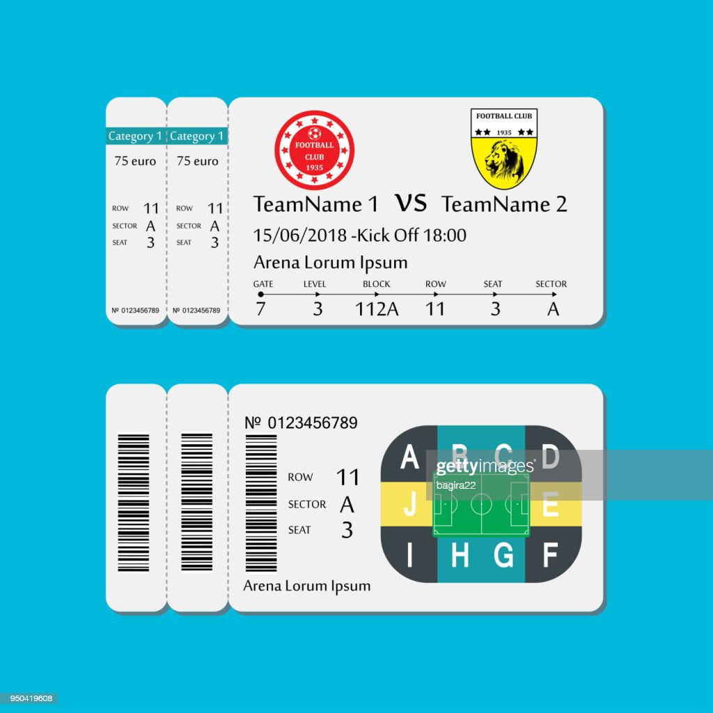 Soccer or football ticket template,