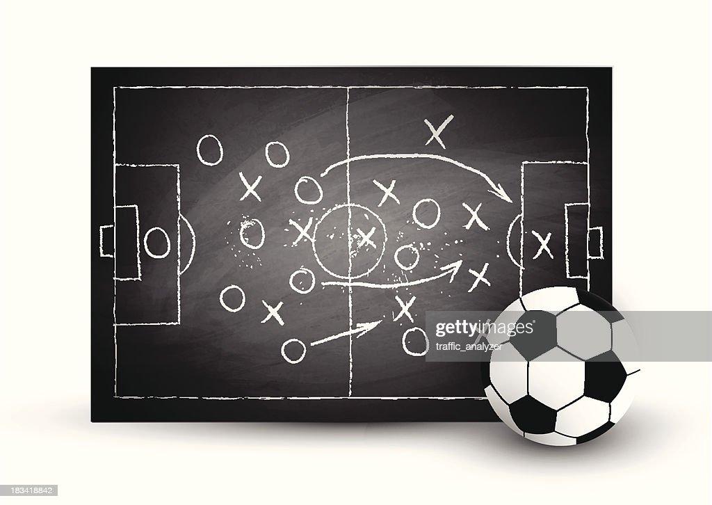 Soccer play over black chalkboard
