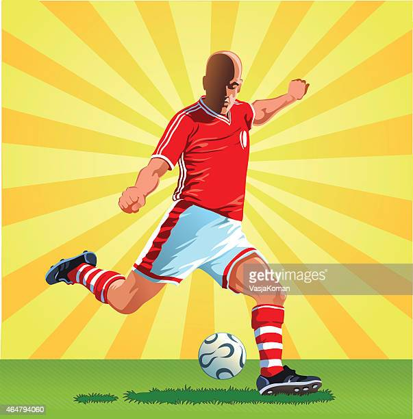 soccer player about to kick the ball - midfielder soccer player stock illustrations