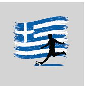 Soccer Player action with Hellenic Republic flag on background