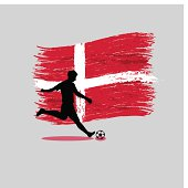 Soccer Player action with Kingdom of Denmark flag on background