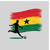 Soccer Player action with Republic of Ghana flag on background