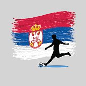 Soccer Player action with Republic of Serbia flag on background