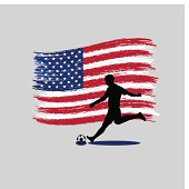 Soccer Player action with  USA flag on background