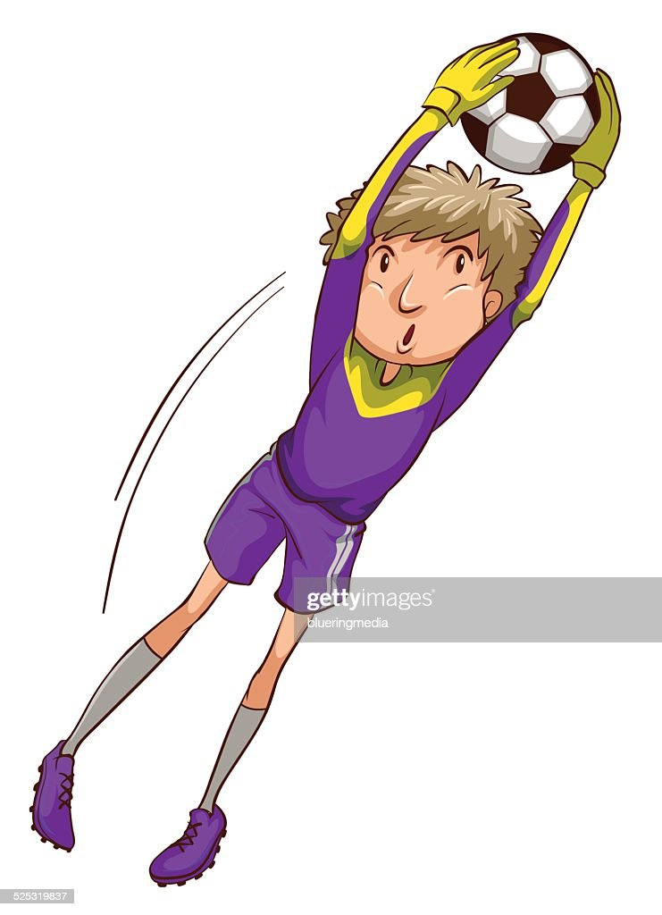 Soccer player catching the ball