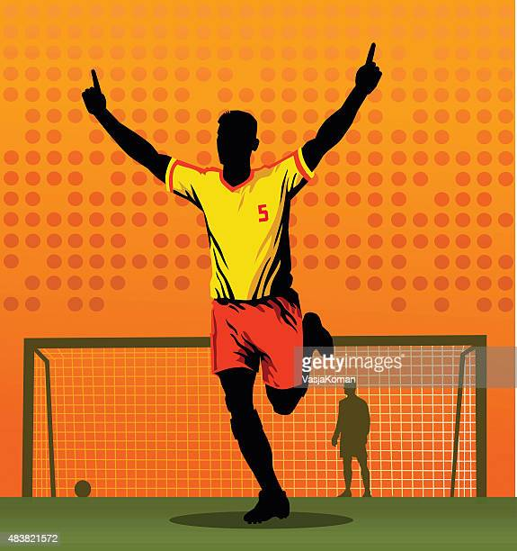 soccer player celebrating after scoring goal - midfielder soccer player stock illustrations