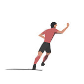 Soccer player celebrating goal, flat design illustration. Isolated vector drawing. Happy footballer running