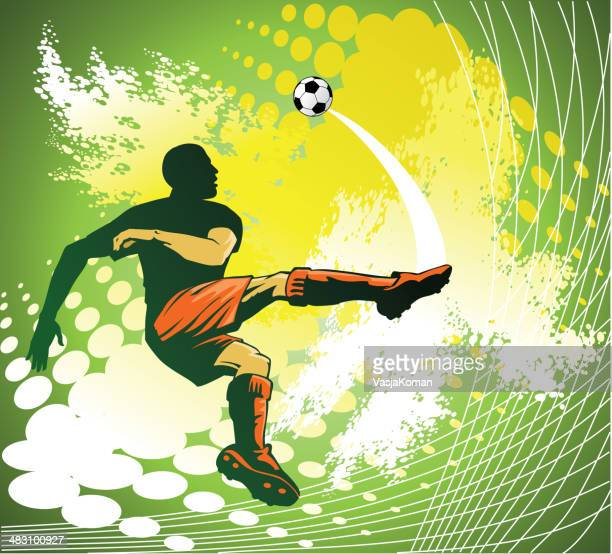 soccer player doing volley kick - midfielder soccer player stock illustrations