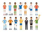 Soccer player, football sport athlete character set
