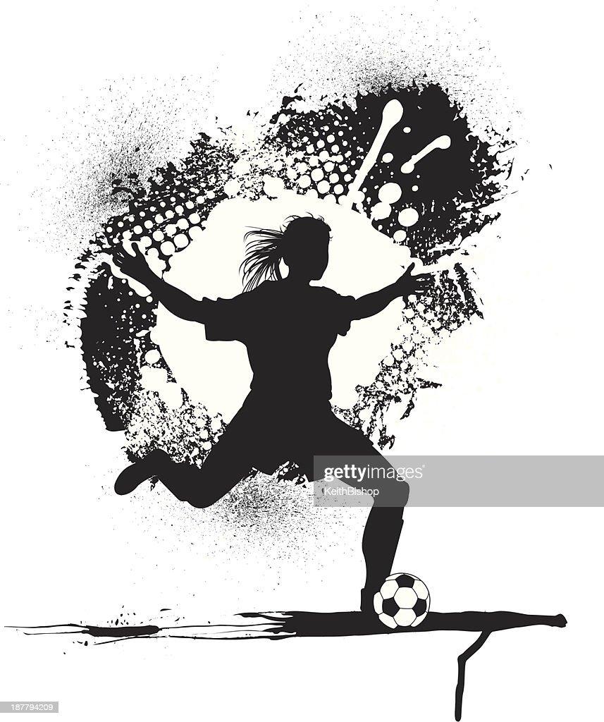 Soccer Player Grunge Graphic - Girls : stock illustration