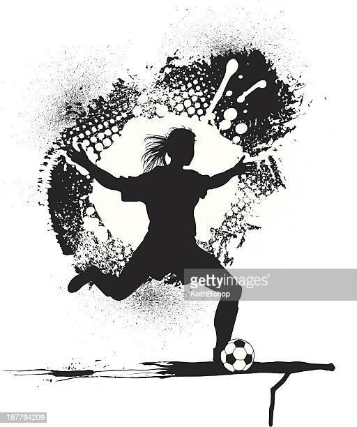 Soccer Player Grunge Graphic - Girls