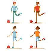 Soccer player hits the ball. Set. Vector