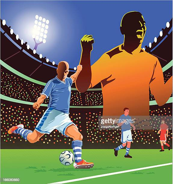 soccer player in action - midfielder soccer player stock illustrations