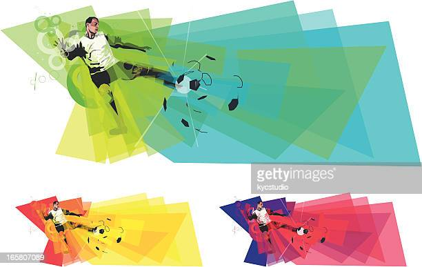 Soccer Player Kicking Ball in colours