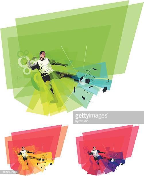 ilustraciones, imágenes clip art, dibujos animados e iconos de stock de jugador de fútbol coleando de bolas de colores - lanzar la pelota