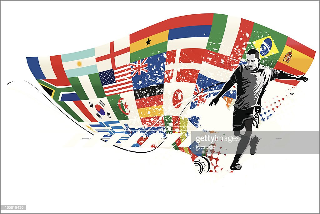 Soccer Player Kicking Ball with Flags : Stock Illustration