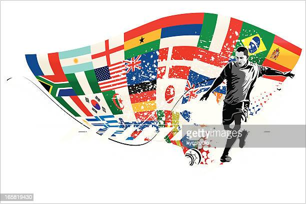 Soccer Player Kicking Ball with Flags