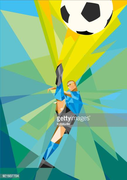 soccer player kicking the ball low poly version - competitive sport stock illustrations, clip art, cartoons, & icons