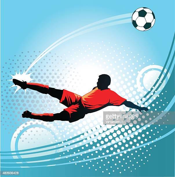 stockillustraties, clipart, cartoons en iconen met soccer player kicking the ball with perfect precision - middenvelder voetballer