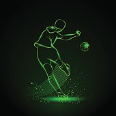 Soccer player kicks the ball. Back view. Neon illustration.