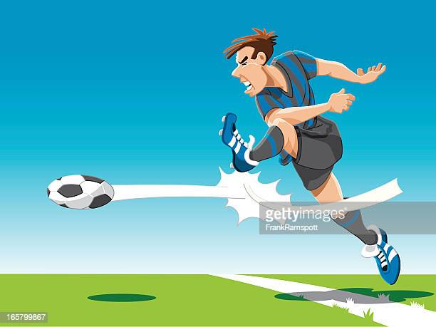 soccer player powerful shot - kicking stock illustrations
