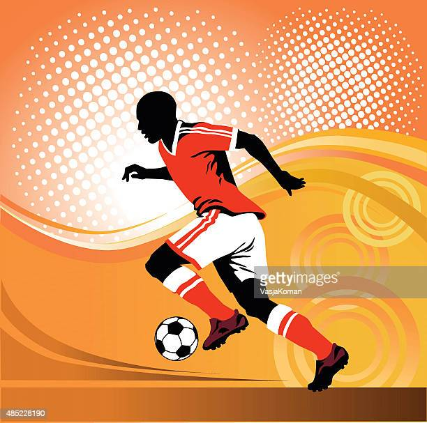 Soccer Player Running With Ball on Red Background