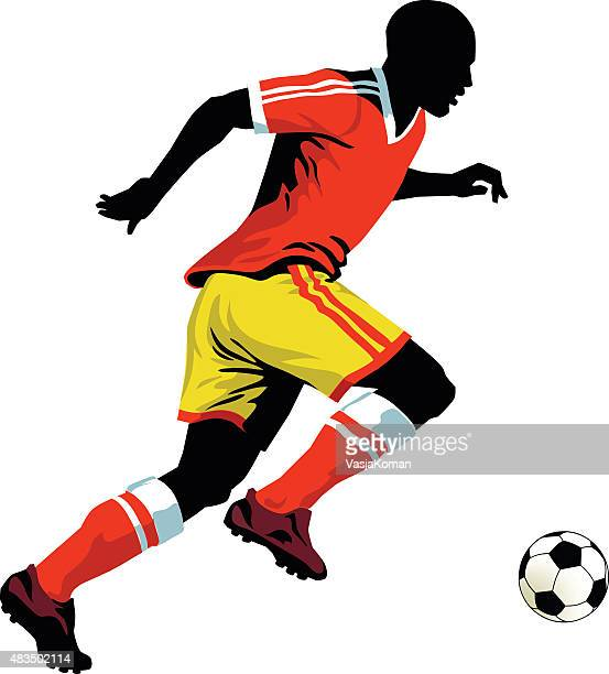 soccer player running with the ball - football - midfielder soccer player stock illustrations