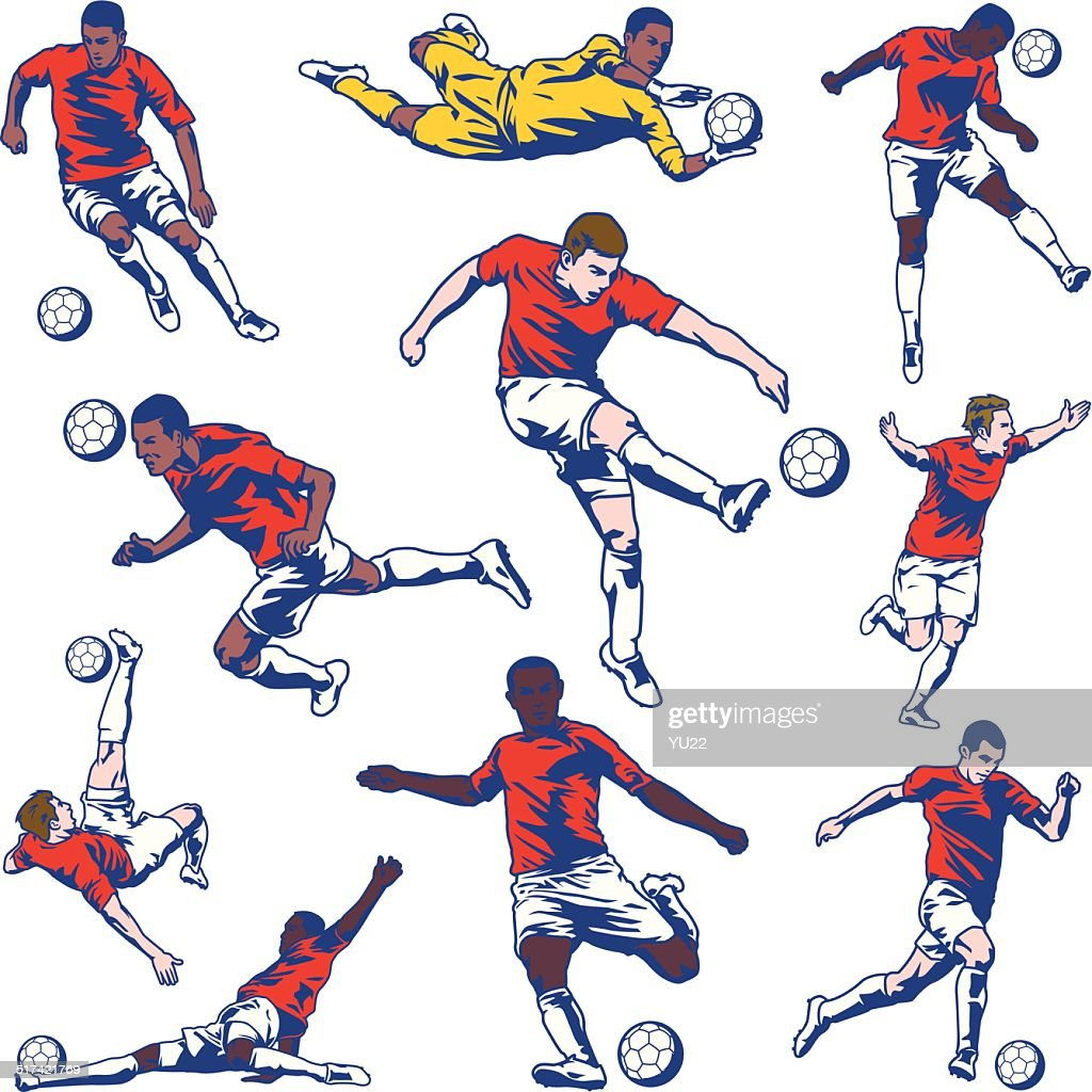 Soccer Player Set : stock illustration