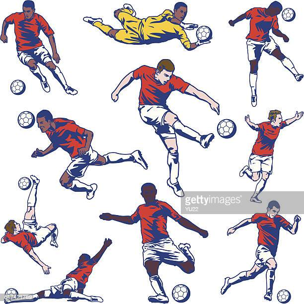 soccer player set - football player stock illustrations