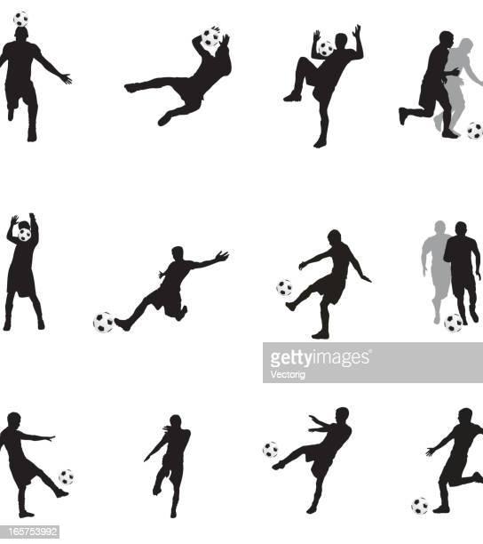 soccer player silhouette - defender soccer player stock illustrations