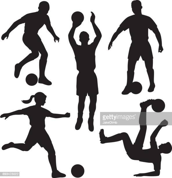 soccer player silhouettes - sport set competition round stock illustrations